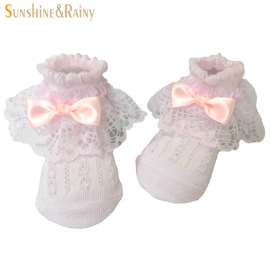Newborn Baby Socks White Pink Lace Bow Cotton Cute Toddler