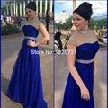 Vestidos de fiesta 2017 azul royal sexy simples a linha o pescoço prom vestidos festa formal vestidos handwork baguetes caixilhos prom dress