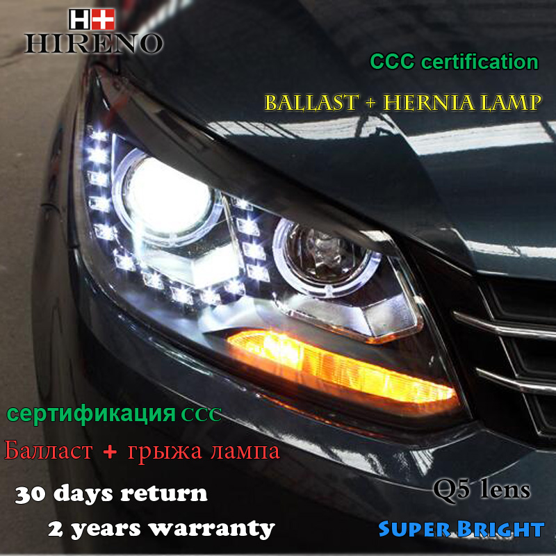 Hireno Headlamp for 2010-2015 Volkswagen Touran Headlight Assembly LED DRL Angel Lens Double Beam HID Xenon 2pcs 2pcs purple blue red green led demon eyes for bixenon projector lens hella5 q5 2 5inch and 3 0inch headlight angel devil demon
