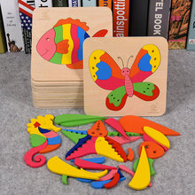 Kids Wood Puzzle Toy Cartoon Animal single layer puzzles set Childrens 3D Dinosaur etc Wooden gift