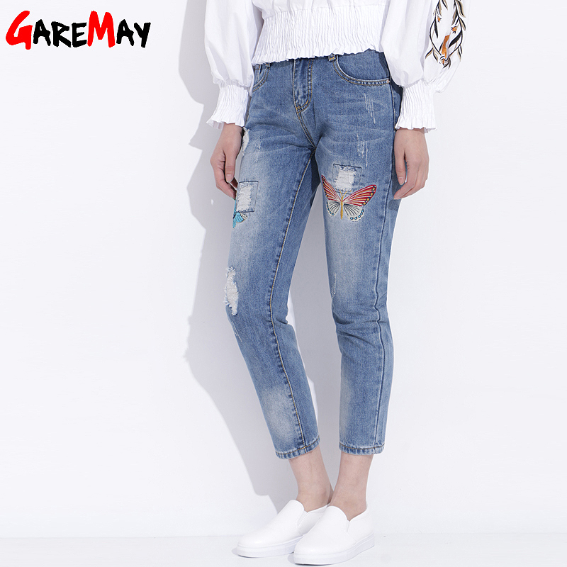 Womens Ripped Jeans With Embroidery Summer 2017 Ladies Straight Cotton Denim Casual Pants Pantalones Vaqueros Mujer GAREMAY 2610 womens ripped jeans with embroidery summer 2017 ladies straight cotton denim casual pants pantalones vaqueros mujer garemay 2610
