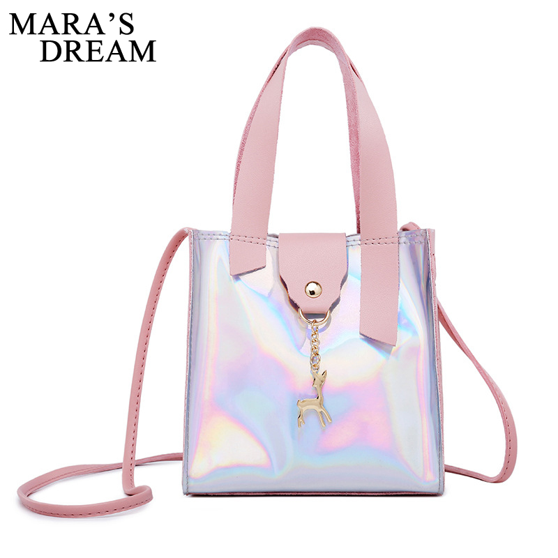 Mara's Dream 2019 Women Messenger Bags PU Leather Solid Flap Laser Mini Bag Tassel Deer Toy Flap Shape Bag Women Shoulder Bags