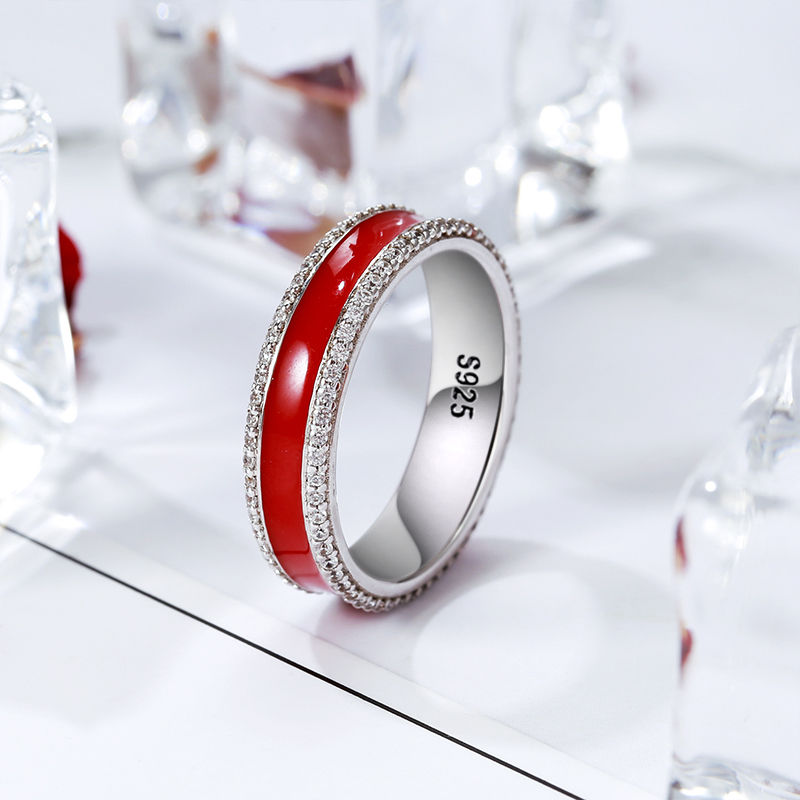 StrollGilr 925 Sterling Silver Simple Red Enamel Ring with CZ Hot blood love Zircon Wedding Rings Fashion Jewelry Gift For Women in Wedding Bands from Jewelry Accessories