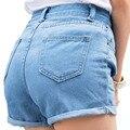 2016 Mujeres del Verano Retro de Cintura Alta Pantalones Cortos de Mezclilla Femenina Corta Floja Coreana Ocasional de La Manera Más Tamaño Pantalones Vaqueros Cortos Mujeres