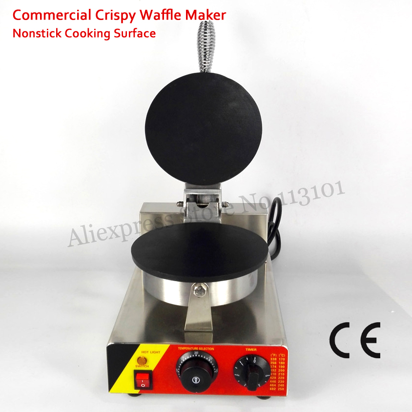 Commercial Crispy Waffle Maker Nonstick Roll Pancake Machine 1000W 220V 110V for Home Restaurant Cafeteria