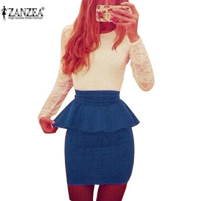 2016 Женщин Весна Осень Dress Длинным Рукавом Bodycon Sexy Кружева Лоскутная Элегантный Партия Баски Волан Мини Работа Платья Vestidos