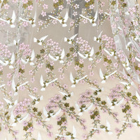 Pink Bird Embroidery Three dimensional Lace Fabric For Wedding Dress Manual DIY Clothing Decorate