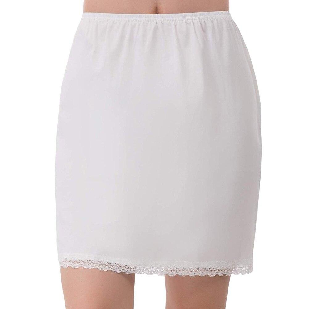 Lined Skirt For Short Skirt Women Summer Elastic Waist Petticoat  Anti-transparent Skirt Milk Silk Lace Skirts One Size
