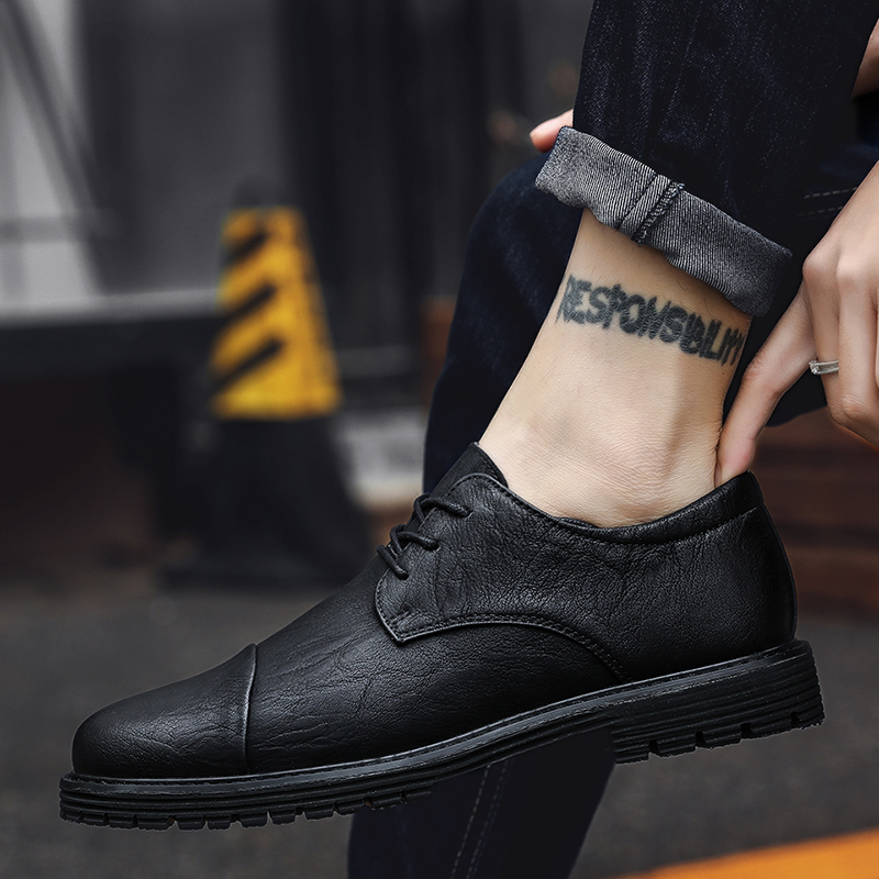 Fashion Men Shoes Lace Up Oxfords Moccasins Black Shoes Genuine Leather Autumn Shoes Men Casual Loafers Chaussure Homme Cuir J3