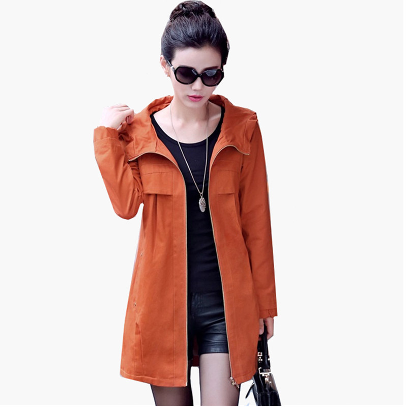 2019 Spring Autumn Women's Hooded Windbreaker Coat Large Size 4XL Loose Solid Women's Long Cotton Outerwear Casual   Trench   Coats