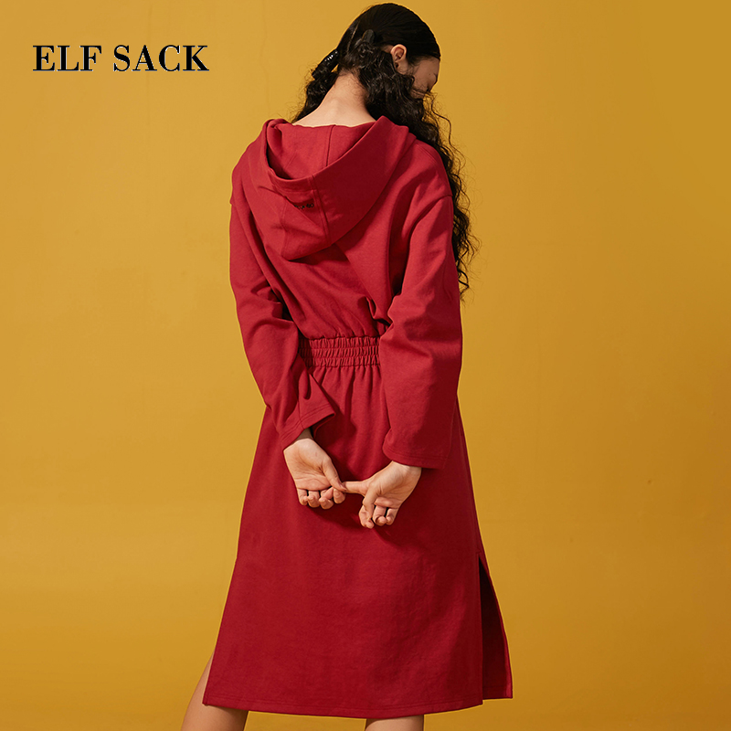 Femmes longueur Droits À Nouveau Genou Manches Chic Femelle Mode Elf Robes  Occasionnels Sac red Femme ... 4b35e8b8ebb