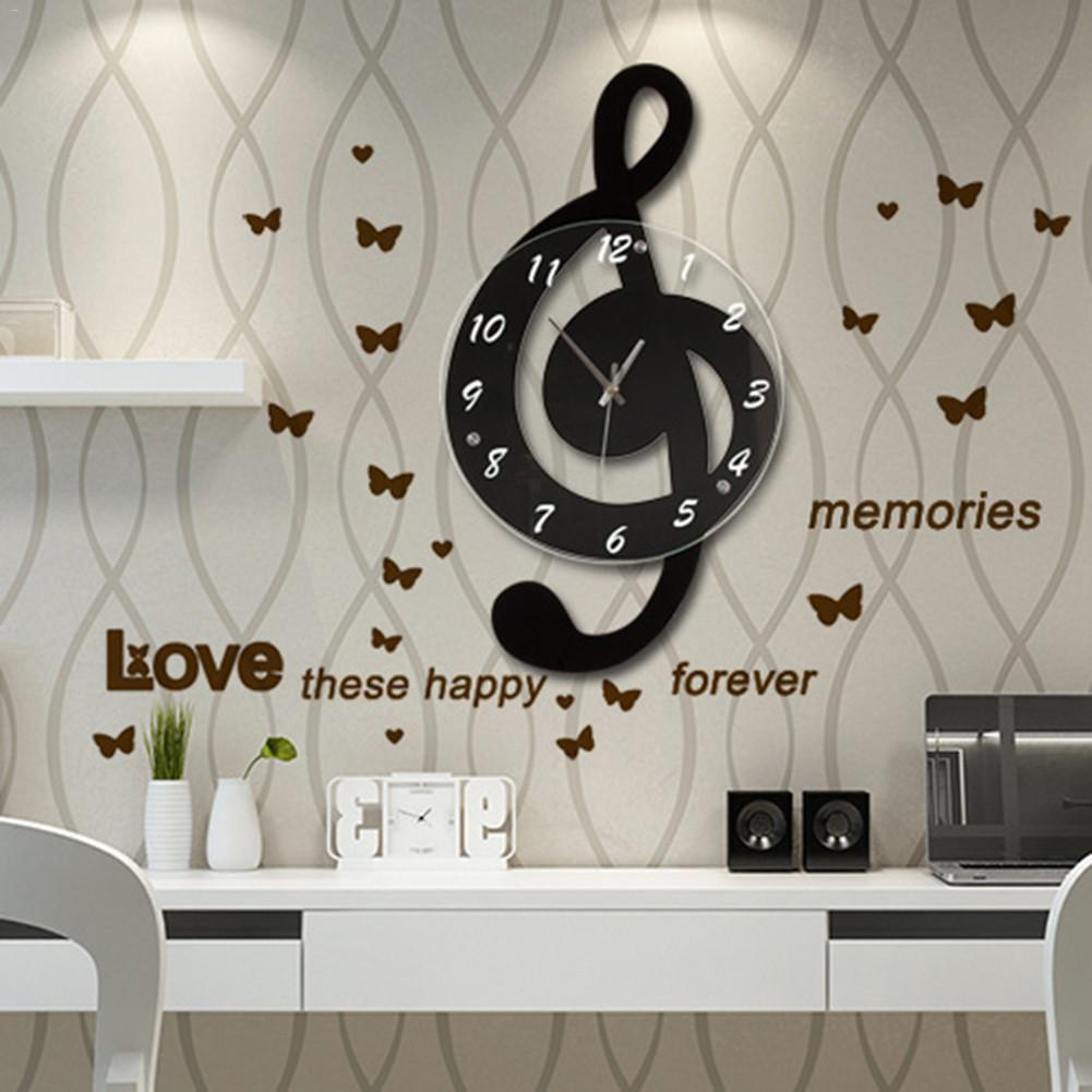 Musical Note Wall Clock Modern Minimalist Wall Clock Quiet Quartz Movement For Bedroom Living Room Personality Decoration