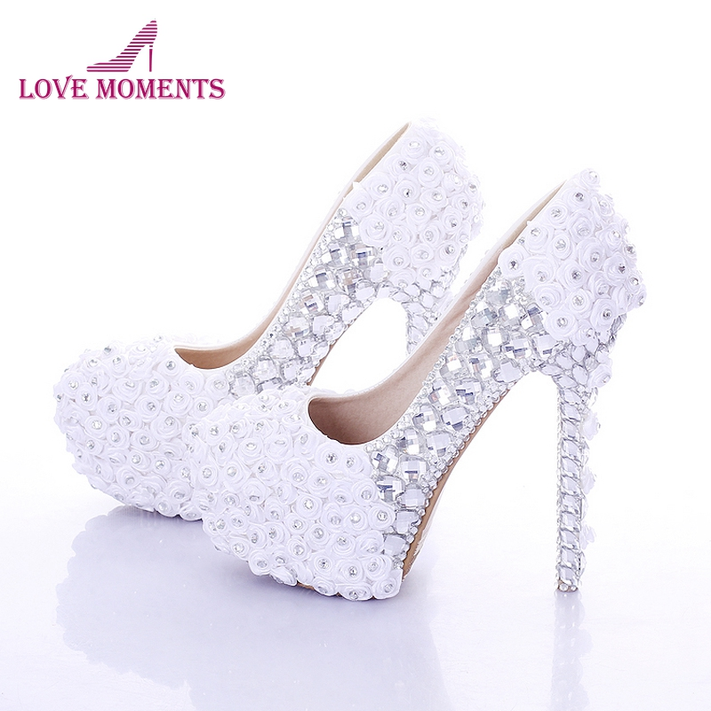 Red Super High Heel Rose Flower Bridal Dress Shoes Rhinestone Wedding Party Prom Shoes Lady Platform Heels Women High Heel Shoes carollabelly sweet flower women pumps high heels lace platform pearls rhinestone wedding shoes bride dress shoes summer sandals