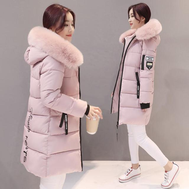 2018 women hooded warm coat winter jackets Big fur collar hats long parka cotton padded jacket female womens wadded plus size 1