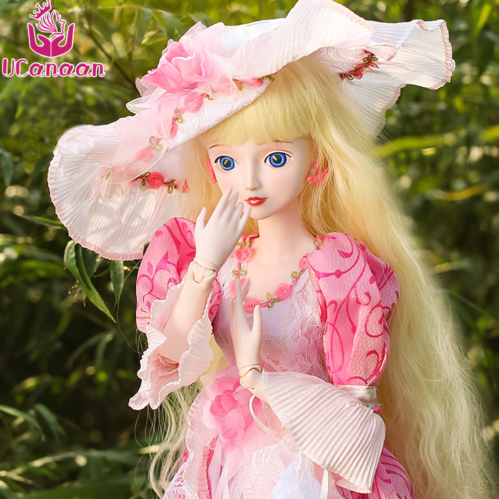 Ucanaan 60CM BJD Girl Doll Pretty Princess Dolls With Outfit Pink Dress Hat Wig Makeup Toys For Children SD Silicone Doll Reborn 5cm pu leather doll princess shoes for bjd dolls lace canvas mini toy shoes1 6 bjd snickers for russian doll accessories