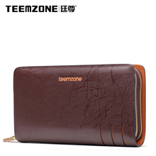Teemzone Men Genuine Leather Handbags Cowhide Wallet Large Capacity Business Clutch Bag High Quality Men's Bag Free Shipping