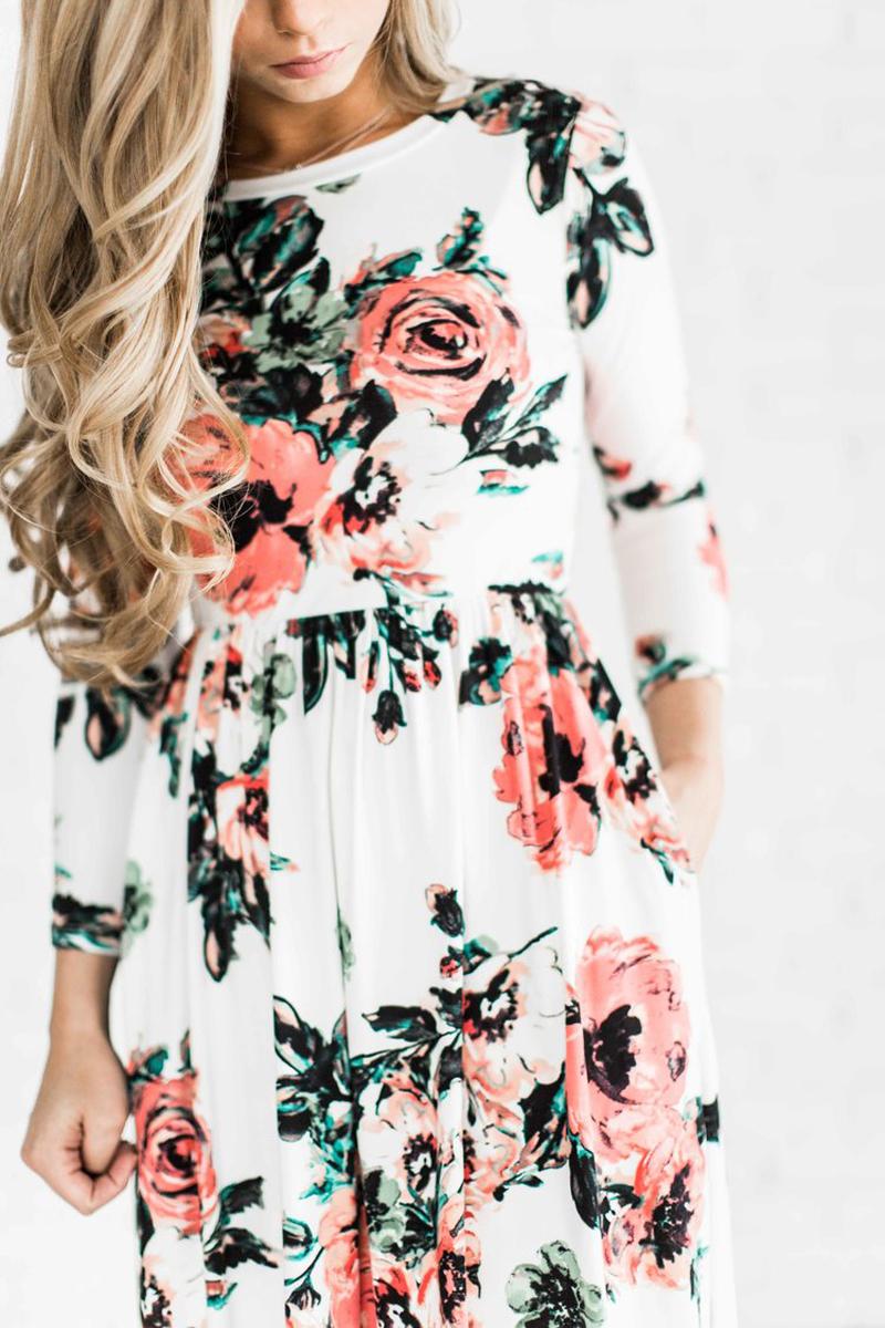 ELSVIOS 2017 Summer Boho Beach Dress Fashion Floral Printed Women Long Dress Three Quarter sleeve Loose Maxi Dress Vestidos 4