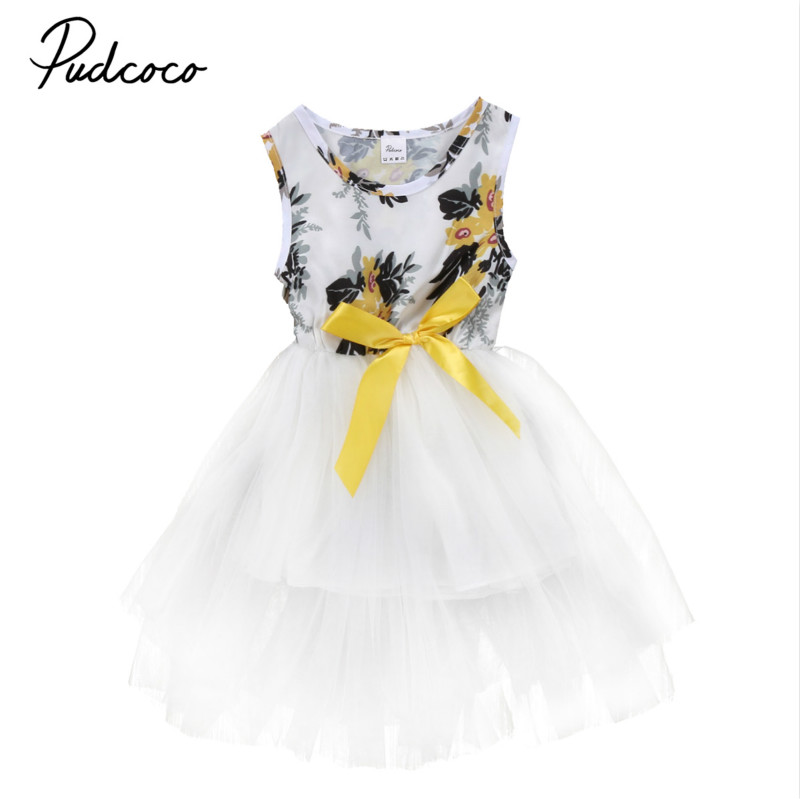 Princess Floral Baby Girls Toddler Kids Sleeveless Dress Infant Lace Party Pageant Wedding Tutu Formal Dresses Sundress New 0-5T baby girls infant wedding party bowknot sleeveless ruffled vest dress sundress