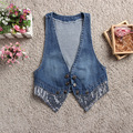 New 2016 Spring Summer hot sale fashion women's cute girl denim vest jeans vest jacket ladies a waistcoat free shipping