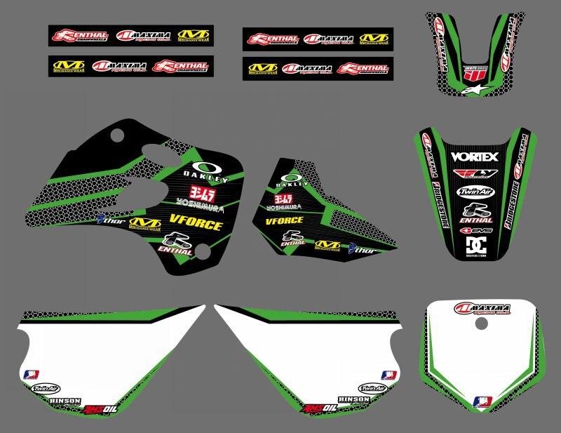 NICECNC 0447 EQUIPE de GRÁFICOS & FUNDOS DECALQUES ETIQUETAS Kits Para Kawasaki KX80 1994 1995 1996 1997 KX 80