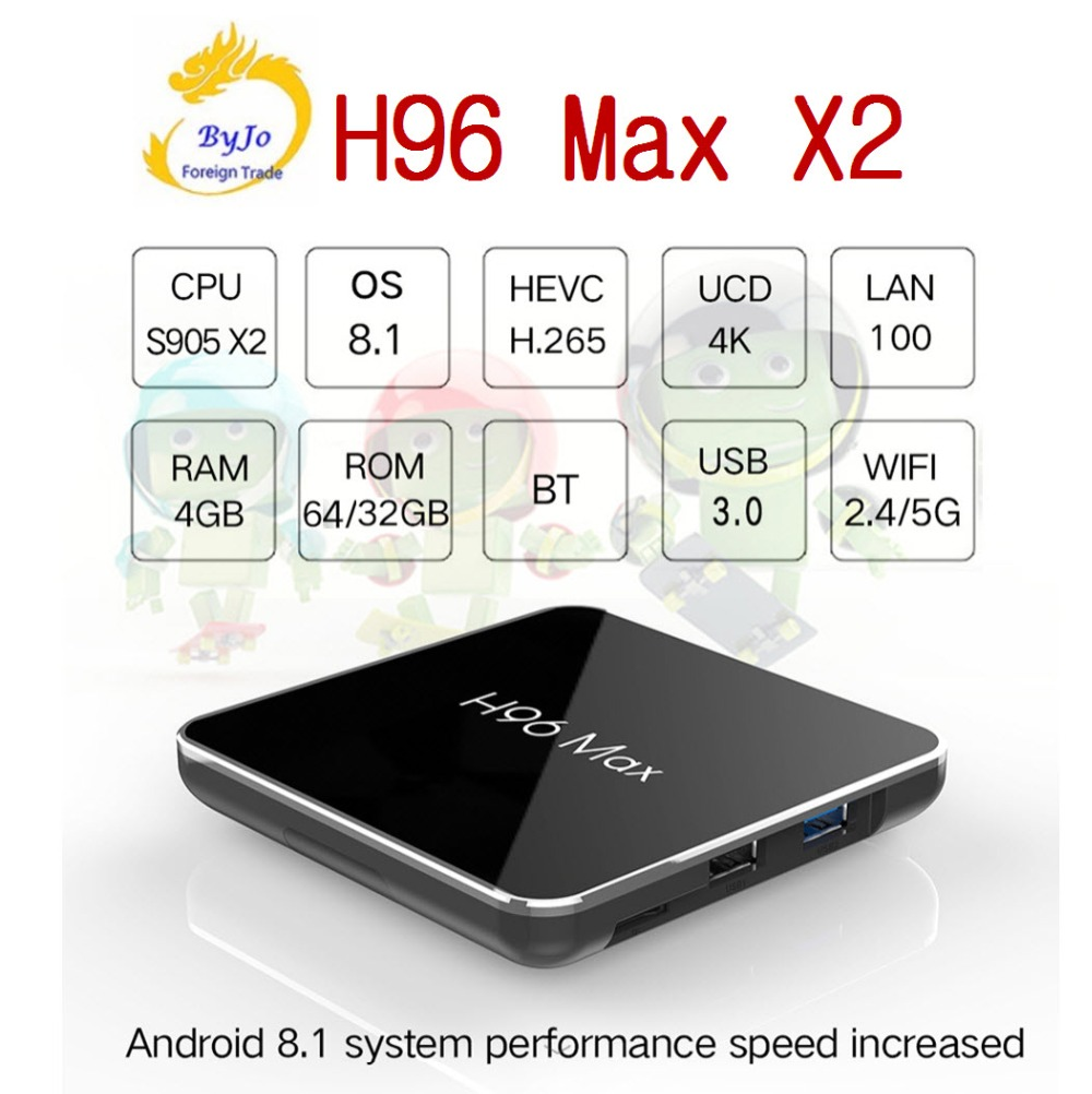H96 Max X2 4K box 2.4G 5GHz Wifi Bluetooth Set Top box S905X2 Smart tv box android 8.1 Android tv box 4G DDR4 32G or 64G h96 max android tv box 4g 32g or 64g or voice control rk3328 4k box 2 4g 5g wifi android 8 1 box set top box h96 max plus