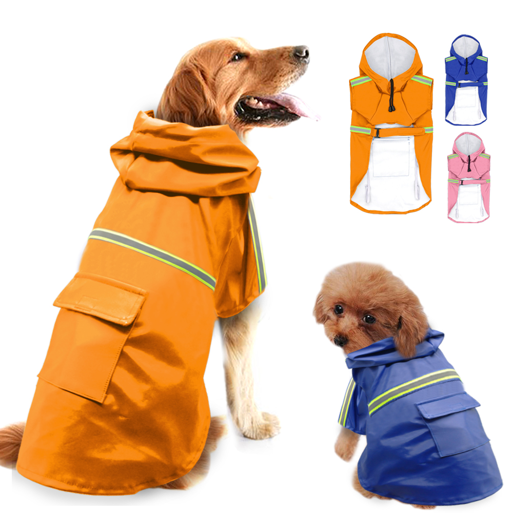 Hooded Large Size Dog Raincoat Puppy Pet Dog Raincoat Two Legs Reflective Stripe Pet Supplies