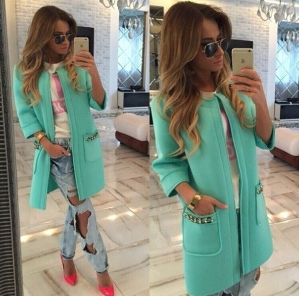 Women fashion Woolen Coat 2017 fall and winter sweet lady candy color thick Three Quarter sleeve cardigan woolen long coat