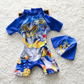 Baby Boy Summer Swim Suit One Pieces Set With Hat Style Beach Swimwear Floral Toddler Kids Cute Swimwear Rush Guards S2062
