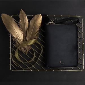 Image 4 - יוקרה Kinbor A6 ספר יומן תיבת מתנת יומן נוסע ברבור שחור קטיפה שחורה מתכנן מחברת רוכסן BJB57 כתיבה יצירתית