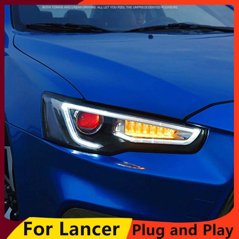 KOWELL Car Styling Head Lamp for LANCER Headlights LED Headlight ANGEL EYES BEAM DRL Bi Xenon