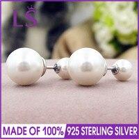 LS 925 עגילי כסף עגילי טיפות זוהרים נשים, עגיל פנינת גביש לבן joyas de plata 925 N