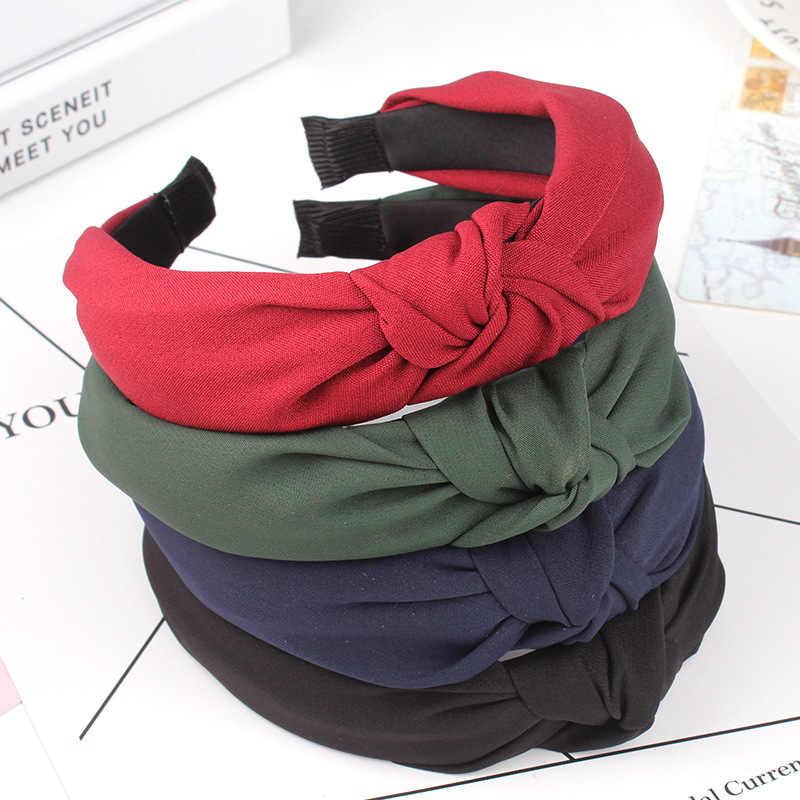 1PC Hot Sale Bow Simpul Ikat Rambut Lembut Kapas Nyaman Manis Gadis Sederhana Kain Cross Ikat Kepala Solid Hadiah
