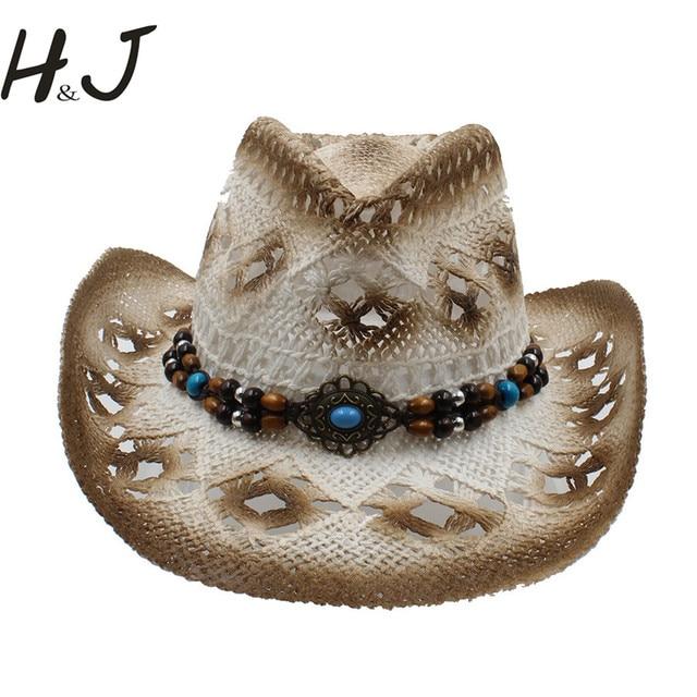 9e4df7f7702e8 Los hombres de las mujeres del verano hueco sombrero de vaquero occidental  Caballero vaquera handwork Jazz
