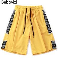 d4452792935c Bebovizi модный бренд боковые полосы шорты мужские Sweatpant 2018 Jogger по  колено короткие уличной хип-