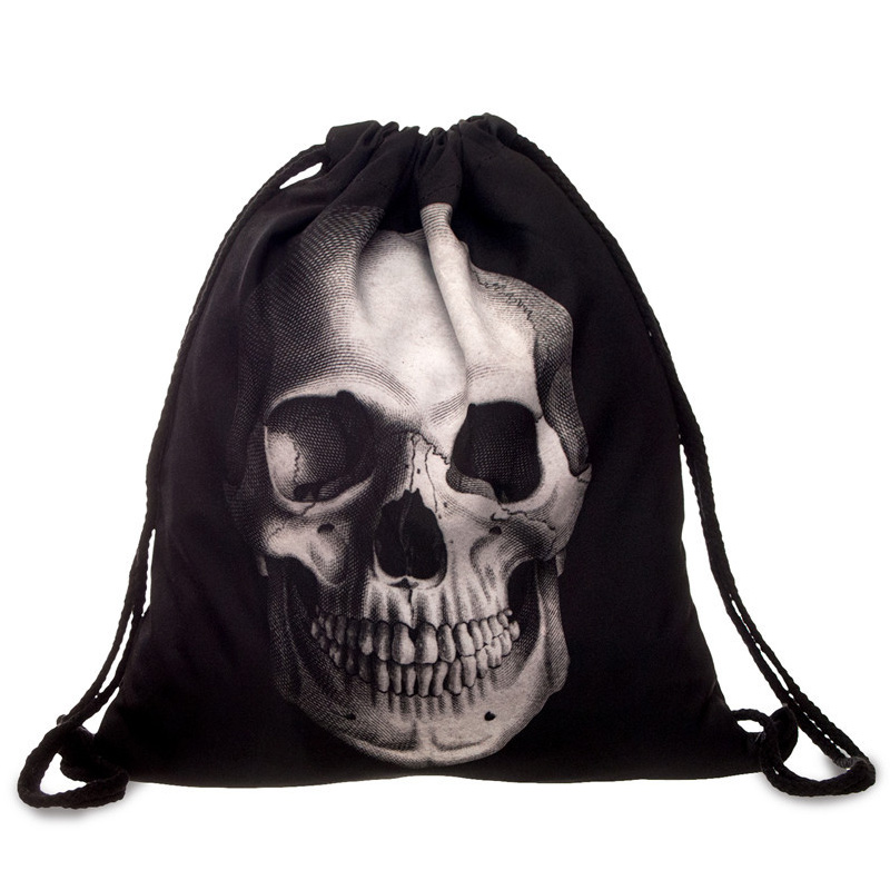 Punk Women Oxford Drawstring Bags Backpack Skull Print Newest Vintage College Students School Bagpack Girls Feminina Sack Bags