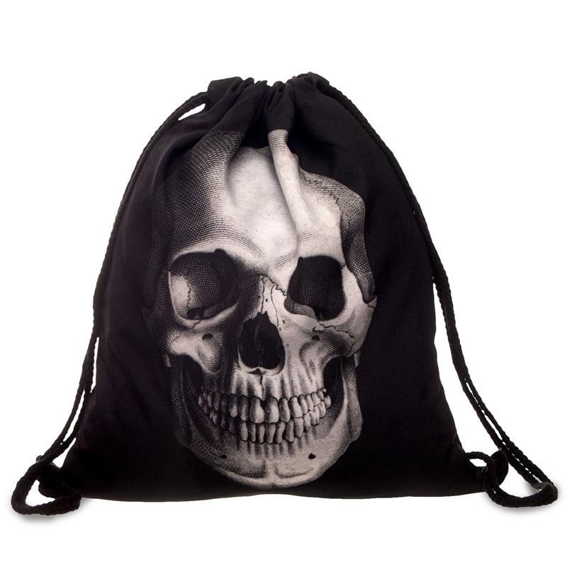 Punk Women Oxford Drawstring Bags Backpack Skull Print Newest Vintage College Students School Bagpack Girls Feminina Sack Bags