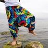20 Colors Men Causal Flower Print Hippy Baggy Boho Elastic Cross-Pants Loose Trousers Aladdin Wide Leg Cotton Linen Harem Pants 9