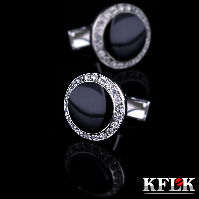 KFLK Jewelry French shirt  Black cufflink for mens Brand Crystal Cuff link Wholesale Round Button High Quality Free Shipping