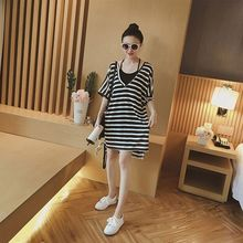 2019 2pcs/set dress women Summer Fashion Loose Concise Casual All-match Striped Short Sleeve Dresses Set xiaying smile women maternity dress female fashion all match boat neck sexy loose embroidery striped short dresss long sleeve