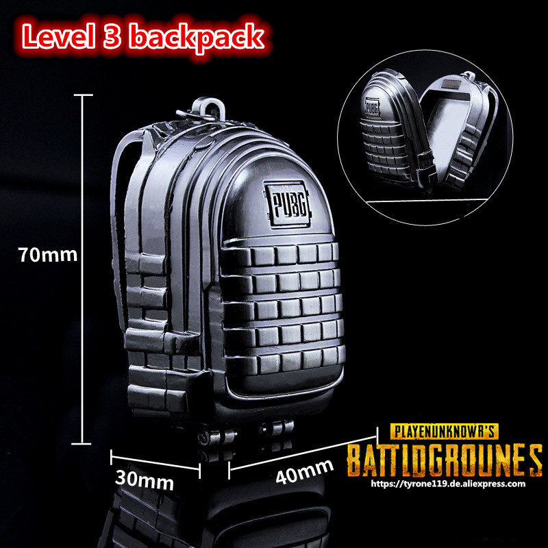 STG Game Playerunknowns Battlegrounds Level 3 backpack Model zinc alloy Pendant Necklace PUBG Logo Keychain