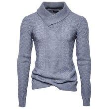 2018 otoño nuevos hombres Hipster Hip Hop tejido manga larga cuello vuelto  pulóver suéteres tripe moda sólida ropa urbana 1ea5a2f9406