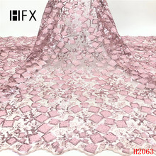 HFX New Design Nigerian Lace Latest African 2019 Bridal Fabric Pink High Quality Sequins F2063