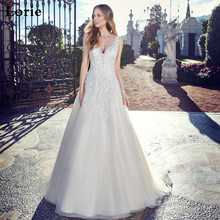 LORIE Lace Ivory Wedding Dress V Neck Sleeveless Bridal A Line Appliques Backless Turkey Gowns