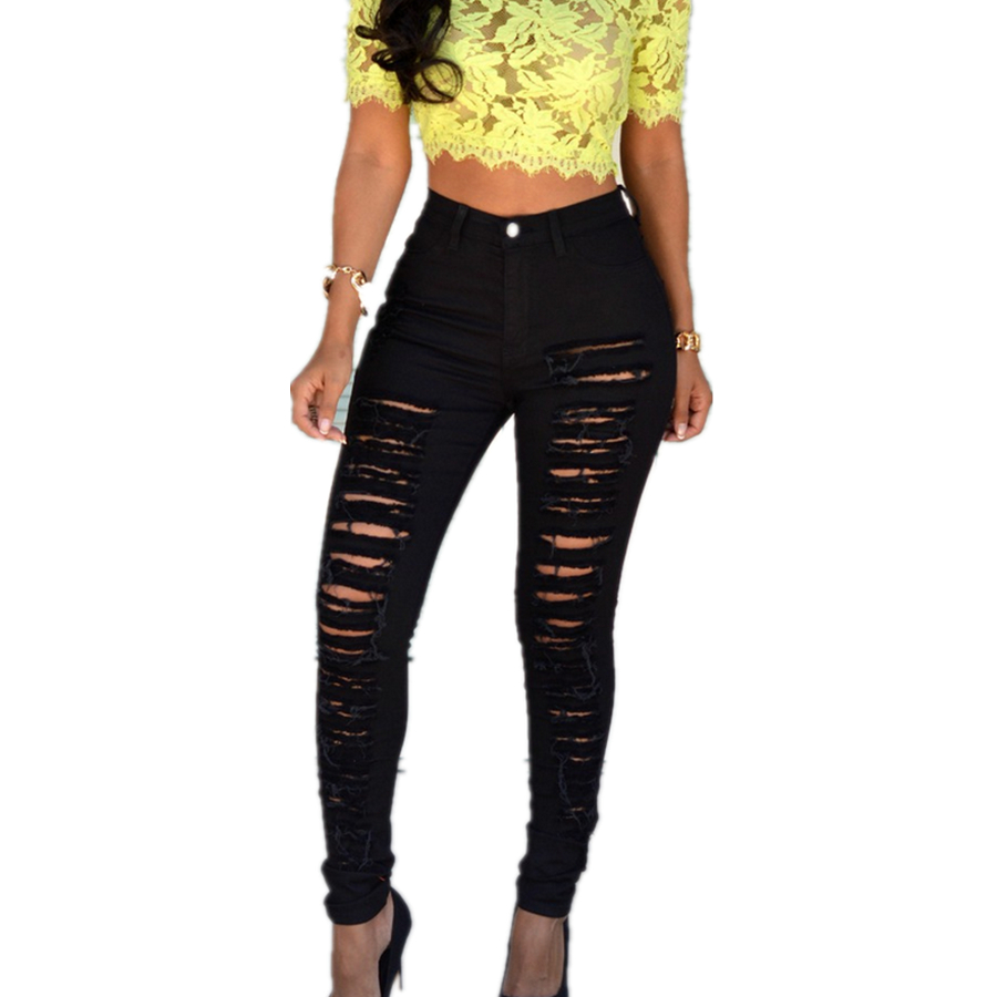 New Summer European and American fashion female beggar hole jeans worn stretch Women Black White Ripped Cotton Trousers S2110