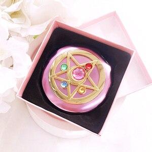 Image 4 - Sailor Moon Crystal Pink Metal Compact Mirror Case Moonlight Memory Series Women Girls Cosplay Cosmetic Make up Mirror + Box