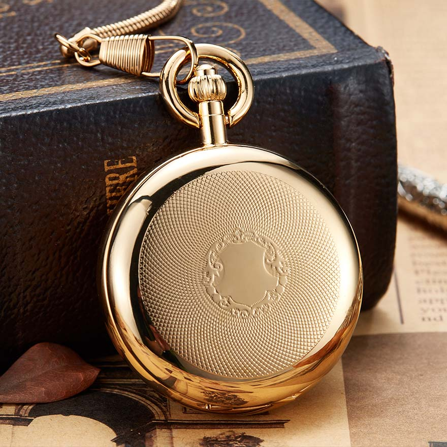 Luxury Golden Color Mechanical Pocket Watch With Chain Hand Winding Copper Fob Watch No Battery Men Roman Numbers Dial Clock
