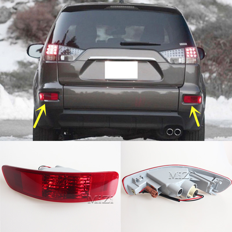 1 Pair Right And Left Rear Bumper Light Tail Fog Light Lamp Reflector Fit for Mitsubishi Outlander 2007-2010 2011 2012 citall rear spare tire cover tail bumper light fog lamp for mitsubishi pajero shogun 2007 2009 2010 2011 2012 2013 2014 2015