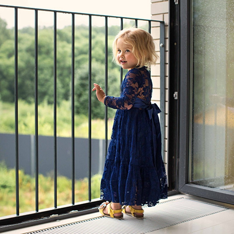 Girl Sweet Flower For Age 2-12 Baby Kids Princess DarkBlue Wedding Party Full-length Prom Dress Big Bow Long Sleeved Lace Dress girl lace long dress with sweet flower for age 3 7 baby kids princess wedding prom party white cream big bow long sleeves dress