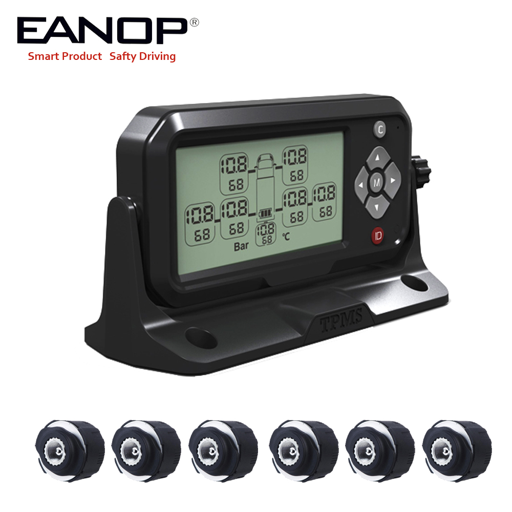 EANOP Truck 12/24V TPMS  LCD Display Tire Pressure Monitoring System 6 External Sensors With 14Bar/203Psi For  RV Truck