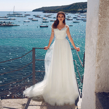 Verngo Beach Wedding Dress 2019 White Ivory A Line Boho V-neck Bridal Classic Simple Gowns Gelinlik